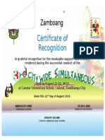 Bsp Certificate of Recognition