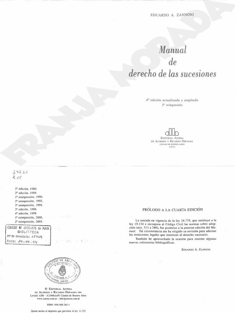 MANUAL DE DERECHO DE LAS SUCESIONES ZANNONI PDF