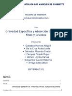 LABORATORIO N°2- gravedad especifica y absorcion de agregados finos y gruesos
