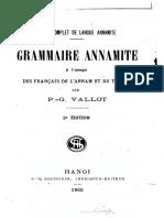 (1905) Grammaire Annamite à l'Usage Des Français de l'Annam Et Du Tonkin - P. Vallot