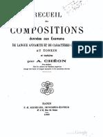 (1899) Recueil Des Compositions Données Aux Examens de Langue Annamite Et de Caractères Chinois Au Tonkin Et Traduites