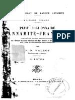 (1904) Petit Dictionnaire Annamite - Français - P. Vallot