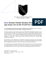 Bosnian Muslim Handzar SS Division Did NOT Target Jews in Second World II