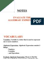 Evaluate Algebraic Expression