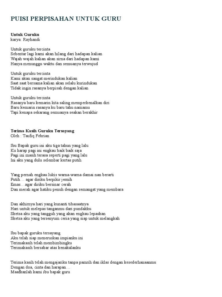 Puisi Perpisahan Untuk Gurudocx