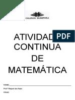 Atividade Continua de Matemática