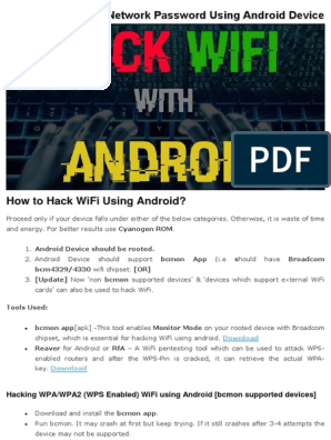 Crack WiFi Network Password Using Android Device pdf | Wi Fi