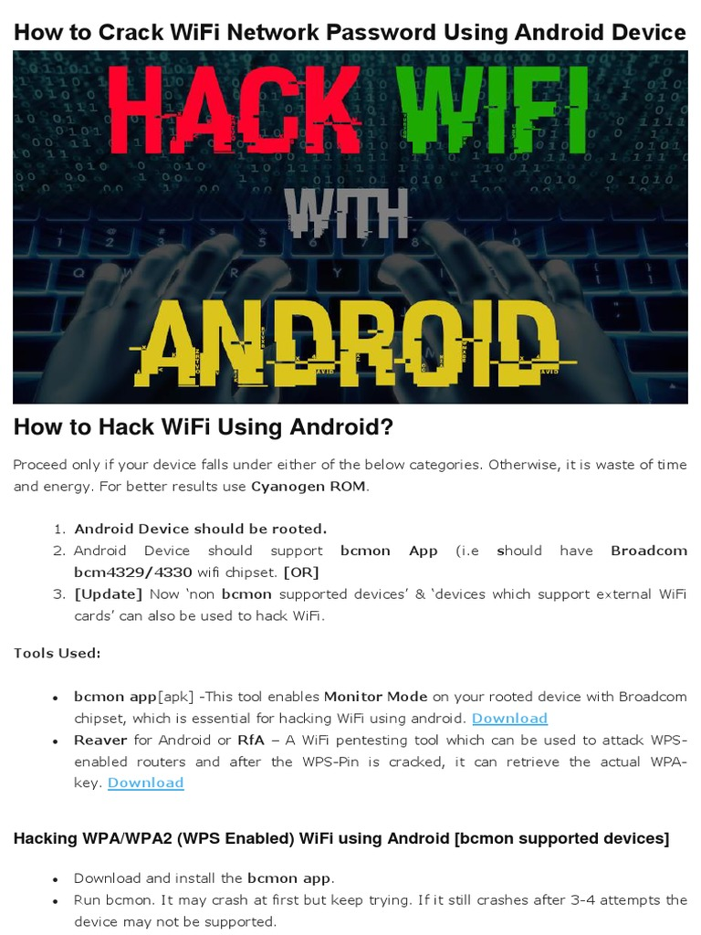 Crack WiFi Network Password Using Android Device pdf | Wi Fi (3 8K