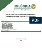 Uso de Contraceptivos en 200 Estudiantes de La Universidad Nacional Ecologica en El Año 2016