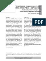 Moreira Territorialidade Casamentos Mistos e Politica Entre Indios e Portugueses