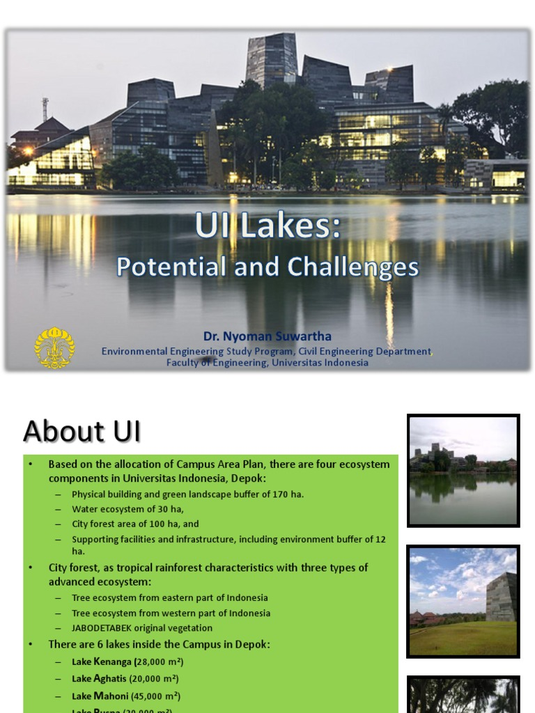 UI Lakes- Potential and Challenges | Environmental Engineering ...