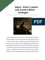 Claudio Magris - Kitsch y Pasión. Hannah Arendt y Martin Heidegger
