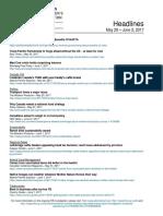 CCA Headlines May 29 - June 2 , 2017