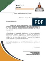 Carta de Recomendación Laboral Seguridad