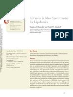 Advances in Mass Spectrometry for Lipidomics
