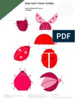 Mr Printables Ladybug Straw Toppers