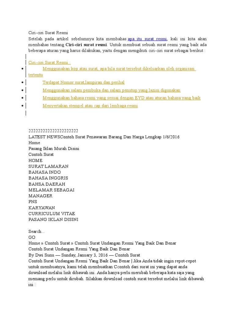 Contoh Surat Formal Bahasa Inggris Informasi Seputar Dunia