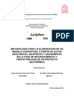 Metodología Para La Elaboración de Un Modelo Conceptual a Partir de Datos Geológicos%2C Geofísicos y Geoquímicos en La Fase de Reconocimiento y Prefactibilidad de Un Proyecto Geotérmico