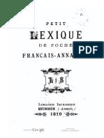 (1910) Petit Lexique de Poche Française - Annamite - Paul-André Maheu