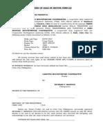 Deed of Sale of Motor Vehicle