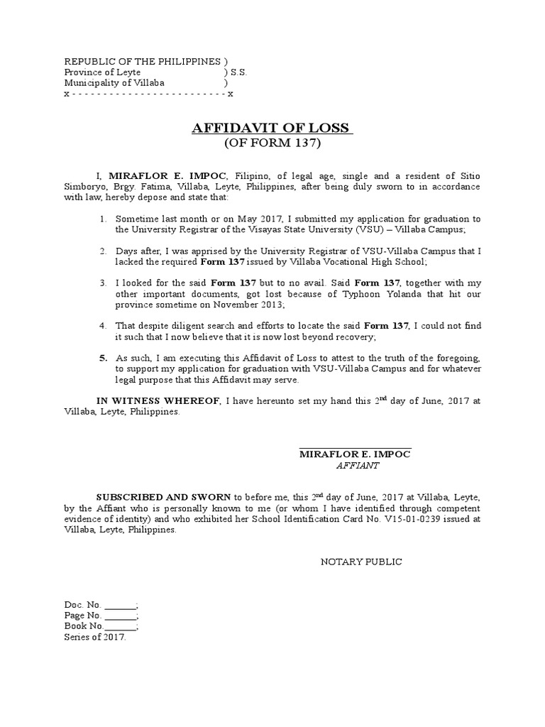 affidavit of loss 16 affidavit of loss free download download free printable affidavit of loss samples in pdf, word and excel formats.