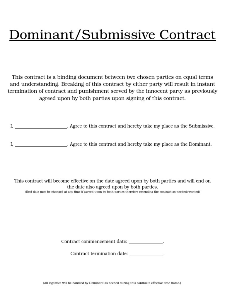 submissive Dominant contract and relationship