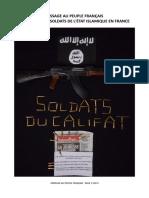 Message Au Peuple Français De La Part Des Soldats De L'État Islamique En France
