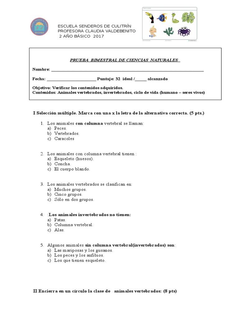 95203825 Prueba Ciencia Vertebrados e Invertebrados 2 Basico
