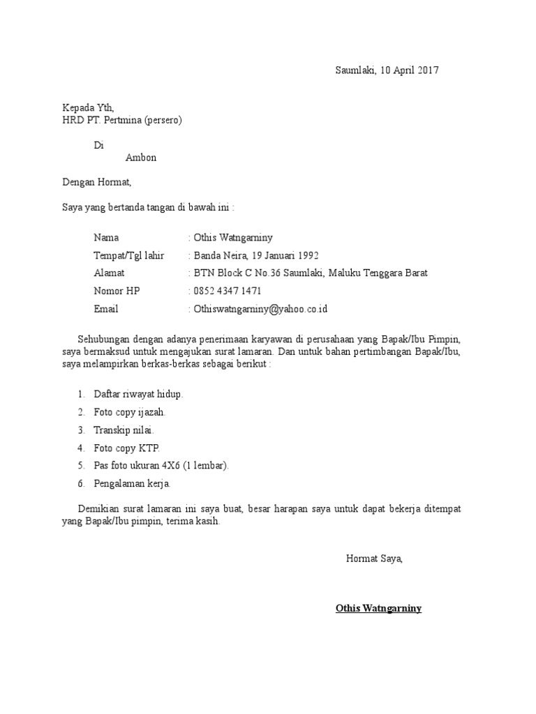 Surat Lamaran Pt Pertamina Ke Ambon Doc