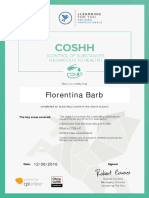 FlorentinaBarbControlofSubstancesHazardoustoHealth(COSHH)Certificate