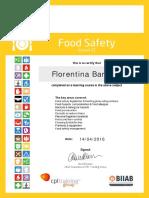 Florentina Barb Food Safety 2013 Certificate