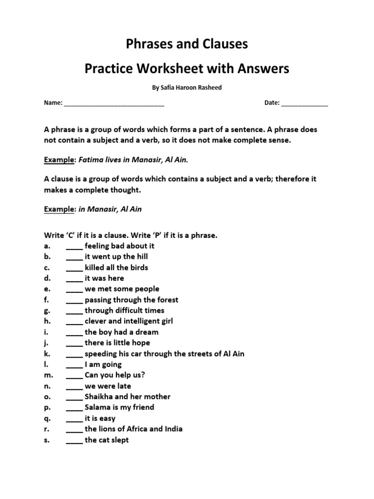 Phrases and Clauses Practice Worksheet