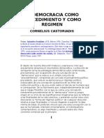 Castoriadis La Democracia como procedimiento y como Regimen.doc