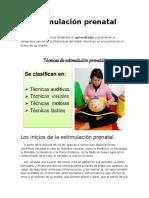 Tabla de Estimulacion Prenatal y de 0a 1ano