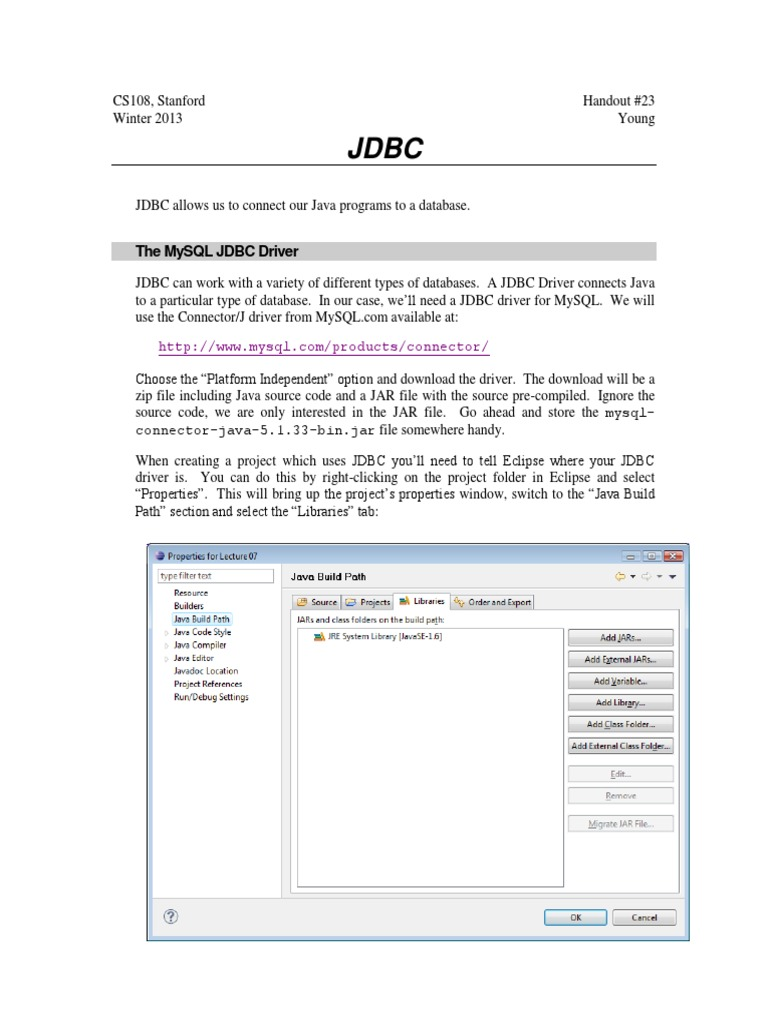 JDBC | Databases | Computing Platforms
