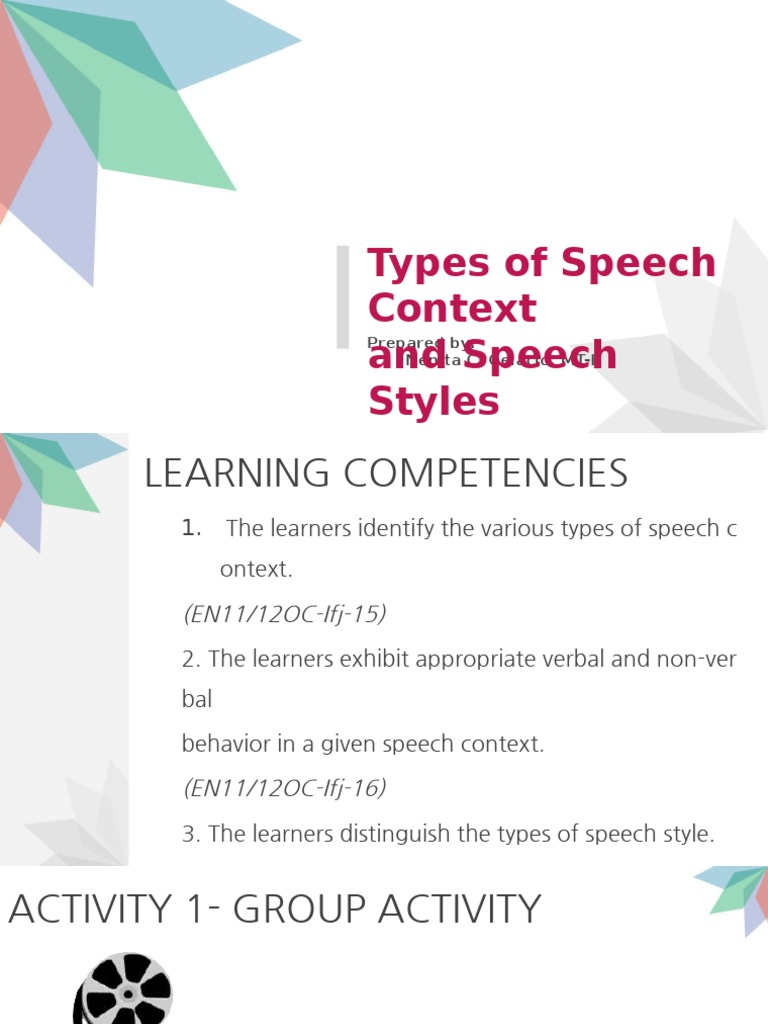 Types of speech activity - what is it 18
