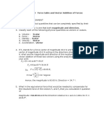 Force table and vector addition Lab Report