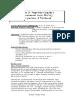 Testing Properties of Biodiesel