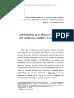 Los Origenes de La Escuela Historica Del Derecho Alemana y Sus Avatares.