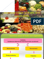 Nutritive value of fruits and vegetables