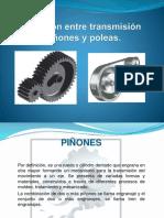 Relación entre transmisión piñones y poleas.