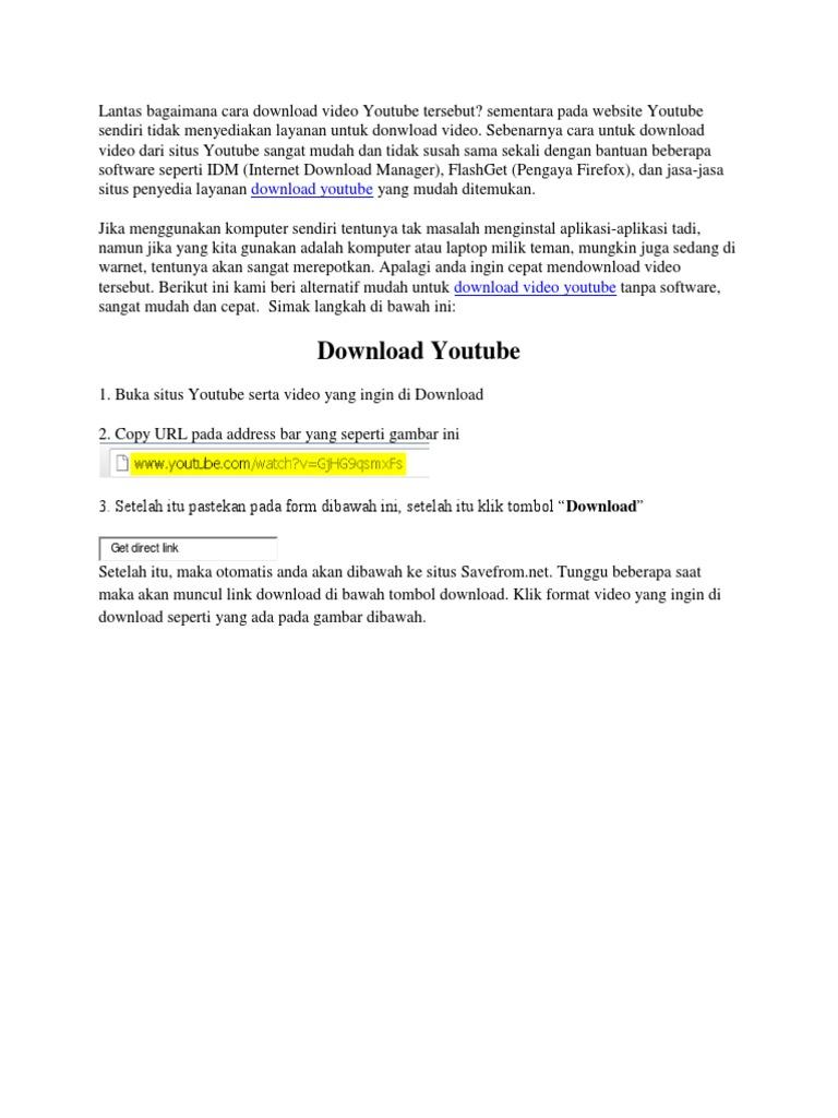Cara Download Video Di Youtube Docx