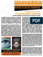 Boletín I Jornadas de Reflexión y Propuestas en Torno al Cine Documental Nacional