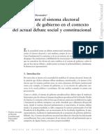 Relación Entre El Sistema Electoral y El Sistema de Gobierno en El Actual Debate Social y Constitucional