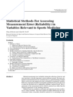 Statistical Methods for Assessing Measurement Error (Reliability)in Variables Relevant to Sports Medicine