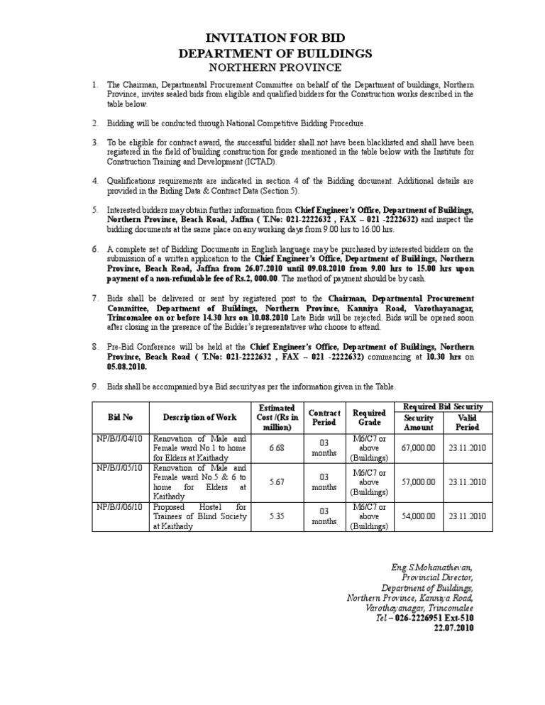 BID Notice Jaffna Kaithady Elders' Home Renovation | Government