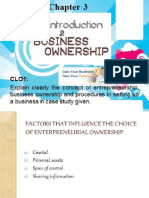 Introduction to Entrepreneurship Chapter 3 Business Ownership