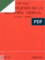 Gigon Olof Los Origenes de La Filosofia Griega de Hesiodo a Parmenides