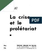 J. Cholat - La crise et le prolétariat (1936)