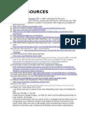 FREE HDRI RESOURCES docx   High Dynamic Range Imaging